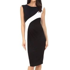 Calvin Klein colorblock white black dress